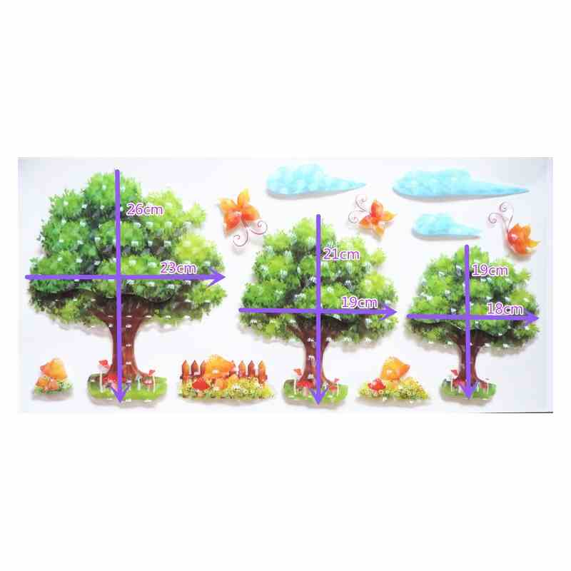 3d立体小树幼儿园教室装饰黑板报贴画温馨客厅橱柜冰箱镜子墙贴纸