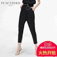 太平鸟女装2017夏装新款拼接黑色宽松高腰长裤直筒裤女A3GB62412