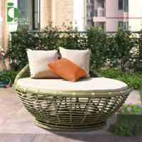 别墅庭院藤编躺床 花园泳池沙滩创意躺椅室外懒人太阳床