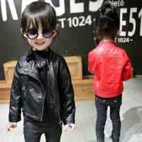 男童皮衣外套夹克2017秋季男童男女童拉链时尚软皮外套